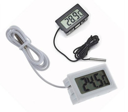 Wholesale 2 colors Digital Thermometer Embedded Professinal Mini LCD Temperature Sensor Fridge Freezer Thermometer C Controller Black White