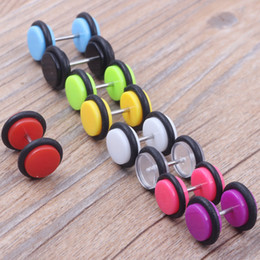 Man Ear stud screw 100pcs 9 color s of Cheater faux fake Ear Plugs Gauges Tapers 16G Earrings body jewelry