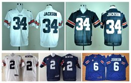 Wholesale Auburn Tigers Cam Newton Jersey Throwback Bo Jackson Jersey White Blue Jeremy Johnson Jersey Blue White NCAA College Football Jersey
