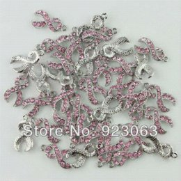 Wholesale 20pcs lot Pink Rhinestone Crystal Ribbon Breast Cancer Awareness 18K Plated Charms Pendant Beads To Make Jewelry