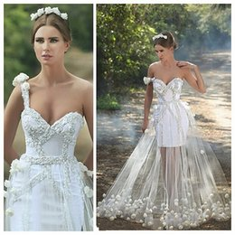 Unique Design Beaded One Strap Wedding Dresses 2017 See Through Tulle Overskirt Beach Bridal Gowns Backless Handmade Flower Wedding Dresses