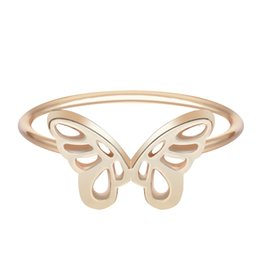 Wholesale Womens Love Jewelry Silver Lovely Mini Beautiful Butterfly Ring Wedding Charming Lady Girl Design Fashion Best Friend Gifts