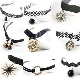 Wholesale Chokers Harajuku Retro Velvet Belt Neck Strap Lace Collar Short Chain Necklace Lolita Punk Clavicle Sweater Chain Necklaces