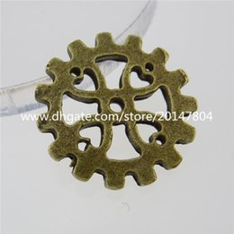 Wholesale 13263 SET Antique Bronze Tone Alloy Round Wheel Gear Connector Pendant