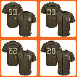 Wholesale Rays Alex Cobb Chris Archer Steven Souza Kevin Kiermaier Green Salute to Service Stitched Baseball Jersey Top Quality