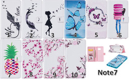 Wholesale Wallet Leather For Iphone Plus Plus Galaxy Note7 Note Flower Blossom Case Butterfly Doughnut Photo Card pineapple Lady Flip Cover pouch