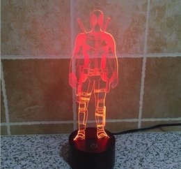 Wholesale Deadpool Colorful D LED Lamp Light Touch Switch Three dimensional Visual Illusion of The Gradient Lamp Light Desktop Light