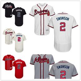 Wholesale 2 Dansby Swanson Jersey MLB Baseball Atlanta Braves Jerseys Flexbase Red Black Grey White Cream size XL XL