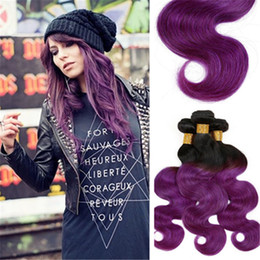 2016 cheap sexy 8A purple ombre color remy human hair weft bundles& ombre weave virgin hair extension 4 bundle deals free shipping