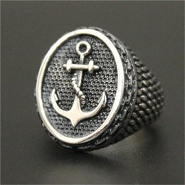 2pcs lot Fast Shipping Newest Design Silver Anchor Ring 316L Stainless Steel Jewelry Popular Fashion Punk Anchor Ring
