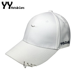 Wholesale 2016 Cool Fitted Hat Ring Safety Pin Curved Hat Unisex Solid Baseball Bap Men Women Snapback Caps Sport Casquette Gorras YY60504