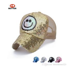 New full embroidery sequins hats Ms sunshade cap baseball cap leisure smiling face net hat golf hat hip-hop street dance baseball hat
