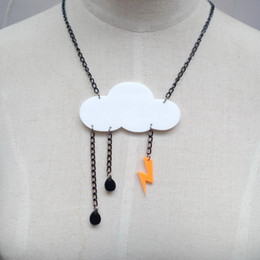Wholesale Night Club Personality Punk Cloud Lightning Acrylic Pendant Necklace Choker Chain Women Jewelry Accessories Hip Hop