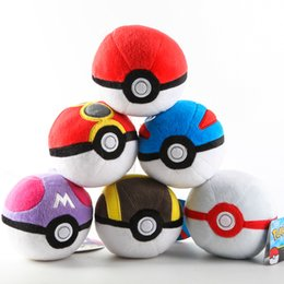 Wholesale EMS cm Inch Poke Ball Plush toys Pillow children cartoon Pikachu Poke Ball Stuffed Animals toy with tags A102