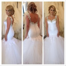 2017 Ball Gown Wedding Dresses Mermaid Lace And Tulle Straps Romantic Bridal Gowns Vestidos De Noiva Free Shipping