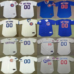Wholesale Men Custom CHICAGO CUBS Majestic Alternate throwback Baseball Jersey Customized Any Name and Number stitched s xl