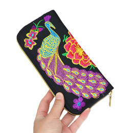 Wholesale Cluth Purse Wholesale - Newly wallets holders woman purse cluth bag black mini bag grape purse peacock wallet national Embroidery purse Chinese style
