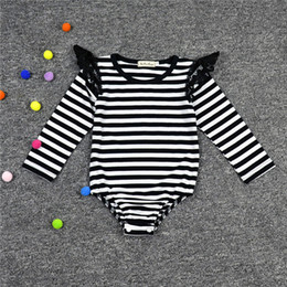 Autumn Baby Clothes ,Striped Pattern Baby Girls Romper ,Black Lace Ruffle Sleeve Baby Jumpsuit ,Brithday Girls Outfit