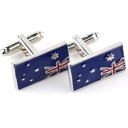 Wholesale Australia Natural Flag Cuff links Mens Jewelry Designer Luxury Australian Patriots French Cufflinks for men