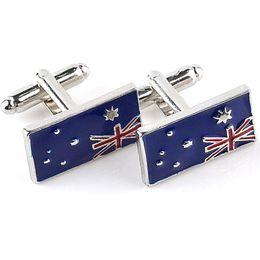 Wholesale Australia Natural Flag Cuff links Mens Jewelry Designer Luxury Australian Patriots French Cufflinks for men