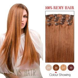 Clip In Human Hair Extentions Silky Straight #30 100% Human Hair Extensions 16-24 inches Brazilian Clip In Hair Preferential Price.