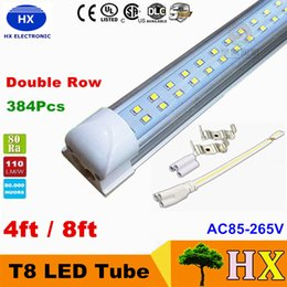 Wholesale T8 Integrated Double row led tube ft w ft w w SMD2835 led Light Lamp Bulb foot foot led lighting fluorescent