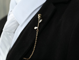 High-grade flowers roses suit shirt collar corsage brooch Korean men and women metal alloy flower brooch