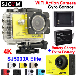 Wholesale 100 Original SJCAM SJ5000X Elite WiFi Action Camera K fps LCD M Waterproof Gyro Extreme Sports Camera Extra Battery Charger