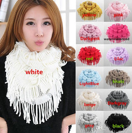2016 New Arrivals Women Lady Knitting Warm Scarf Wrap Fringe Snood Neck Circle Warmer Loop Cowl Ring Shawl Free Shipping