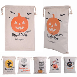 50pcs lot 6 Types 2016 Newest Halloween Gift Bags Hallowmas Canvas Drawstring Bag Christmas Candy Bag