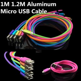 1.2M Aluminum Metal Durable Charging Cable Vertical Stripes Candy Micro USB Data Sync charger wire for Samsung S7 S6edge HTC Universal