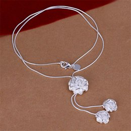 New arrival Three roses necklace sterling silver plated necklace STSN036,brand new fashion 925 silver Chains necklace factory direct sale