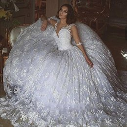 2016 New Arabic Ball Gown Wedding Dresses V Neck Illusion Full Lace Beads Half Sleeves Court Train Backless Plus Size Formal Bridal Gowns