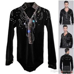 Man Latin Ballroom Dancing Dresses Top High-Grade Velvet Dance Wear Drilling Boy Clothes For Dancing Men Dance Exercise Shirt