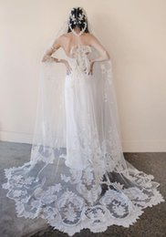 New High Quality Romantic Lovey Cathedral short Lace One Layer Applique veil Bridal Head Pieces For Wedding Dresses