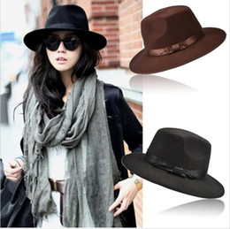 Wholesale Spring Mens Fedoras - Fashion Vintage Hats Womens Mens Trilby Derby Caps Jazz Hats Fedoras Style Top Hats Blower Brand Style Popular Formal Fashion Cap SV009808