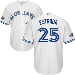 Wholesale 2016 Blue Jays Postseason Jersey Men s Marco Estrada Brett Cecil Devon Travis Dioner Navarro Joe Biagini Jerseys Blue White