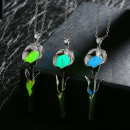 Silver Gold Plated Luminous Night Torch Shaped Pendant Necklace For Women Glowing In The Dark Collar Necklace