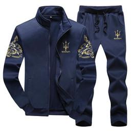 Wholesale Men s sports suit Tracksuits fashion Slim Baseball uniform Men s sweater Set Autumn And Winter Jacket Coat Apparel Men s Clothing Free Ship