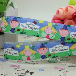 Wholesale 7 quot mm Cute Cartoon Ben and Holly s Little Kingdom Grosgrain Ribbon Bow Diy Materials Craft Sewing Supplies Y A2