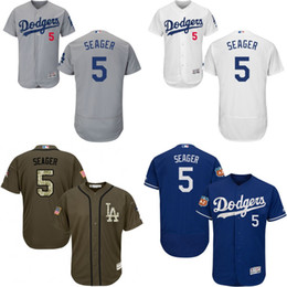 Wholesale Grey green white blue Corey Seager Authentic Jersey Men s Los Angeles Dodgers Flexbase Collection