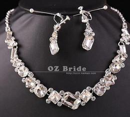 crystal diamond bride wedding set necklace earings bcbgvc