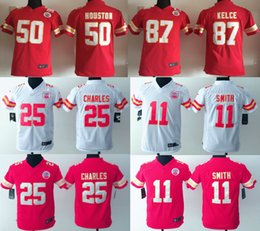 Wholesale Kids Alex Smith Jamaal Charles Stitched Jerseys Number Red White jerseys Youth Jerseys