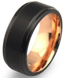 Wholesale mm Black Tungsten Carbide Mens Wedding Bands with Matte Center Comfort Fit Rose Gold Plated Interior Rose Gold En