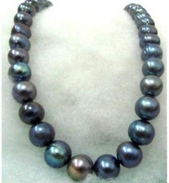 RARE 12-13MM SOUTH SEA BLACK BLUE PEARL NECKLACE 18 INCH 14k GOLD CLASP