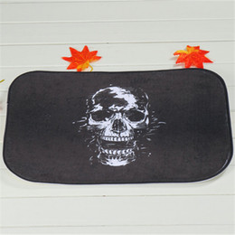 Wholesale Dark Skull Bath Mats Polyester Coral Fleece Rectangle Cartoon Non slip Bathroom Bedroom Carpet Home Mat X60CM