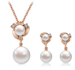 HOT Fashion women Jewelry Sets Earring Necklace Crystal Rhinestone Pearl Earrings & Necklace Wedding Party Gold White K FREE SHIPPING