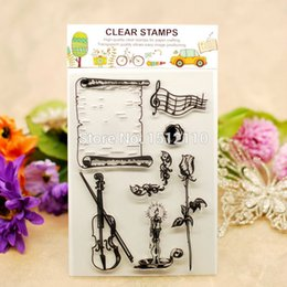 Wholesale Scrapbook DIY photo cards account rubber stamp clear stamp transparent stamp Rose Candle Sheet Music Violin x16cm KW651410