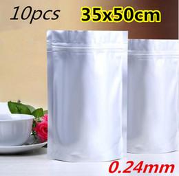 10pcs los 35x50cm Mylar se levantan el bolso de embalaje puro de la hoja de aluminio para el café del alimento Almacenaje a largo plazo La bolsa resellable de Ziplock desde bolsas de embalaje reutilizables fabricantes