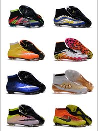 Wholesale New oriGINal mens high ankle football boots MaGISta FG HERITAGE soccer shoes CR7 MercURIal SupERfly CR IV VI BHM HyperVENom soccer cleats